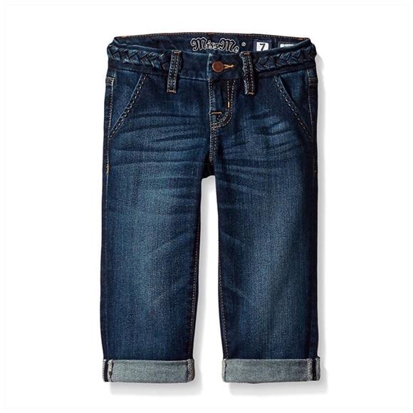 Miss Me Other - Miss Me Girls Denim Cuffed Capri Jeans Braid Belt